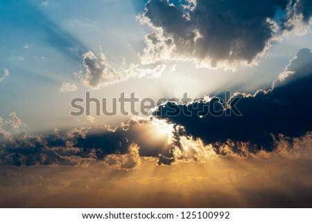 beautiful sundown - stock photo