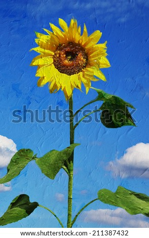 Beautiful sunflower against blue sky. Artistic oil painting style with texture  - stock photo