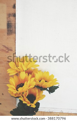 Beautiful sunflowers of artificial flowers