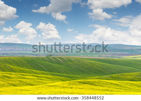 Beautiful sunny day, colorful landscape, Czech Republic, Europe - stock photo