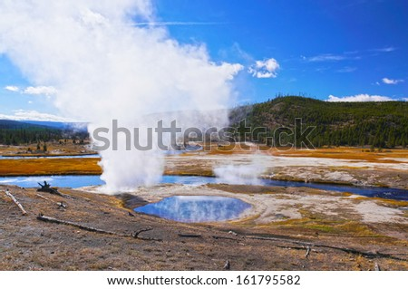 Beautiful sunny day in Yellowstone National Park, Wyoming, United States - stock photo