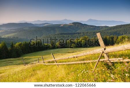 Beautiful sunny day is in mountain landscape. Carpathian, Ukraine. - stock photo