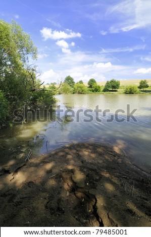 Beautiful sunny  day on a lake Mlinac - stock photo