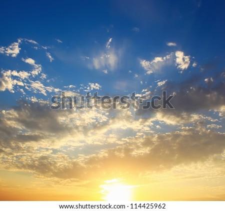 Beautiful sunny sunset sky - stock photo