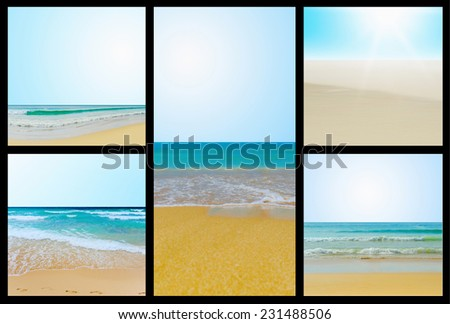 Beautiful sunny tropical beach on the island paradise in the middle of the sea. Collage - stock photo