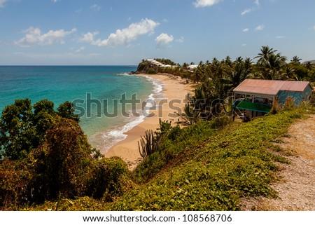 Beautiful Sunny Tropical Caribbean Beach Landscape and Seascape Carlisle Bluff Antigua - stock photo