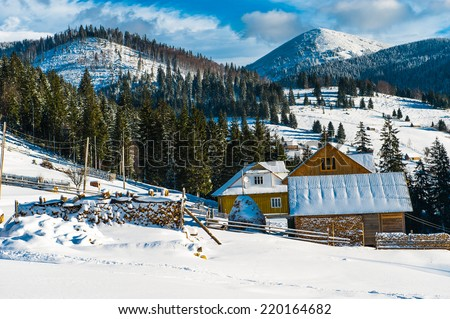 Beautiful sunny winter landscape in mountains Carpathians  - stock photo