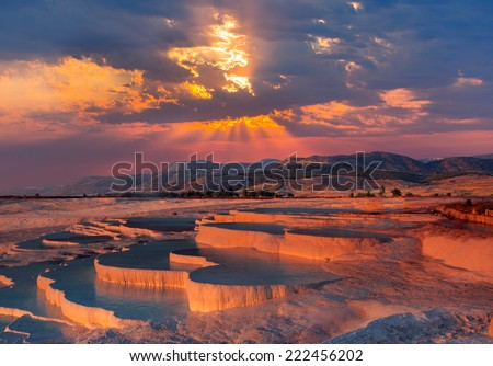 beautiful sunrise and Natural travertine pools and terraces, Pamukkale, Turkey  - stock photo