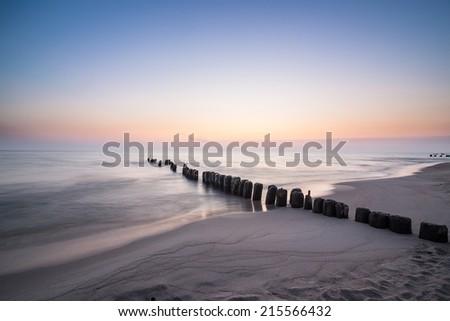 Beautiful sunrise at Baltic sea. Sunrise over the sea. Chalupy, Poland. - stock photo