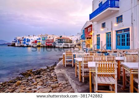 Beautiful sunrise at Little Venice on Mykonos island, Cyclades, Greece - stock photo