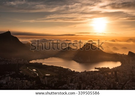 Beautiful Sunrise in Rio de Janeiro - stock photo