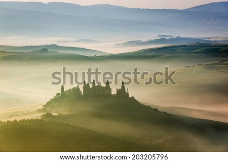 Beautiful sunrise in San Quirico d'Orcia, Tuscany, Italy - stock photo