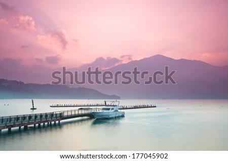 Beautiful sunrise of Sun Moon Lake in Taiwan - stock photo