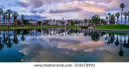 Beautiful sunrise on a golf course in Palm Desert California.  - stock photo