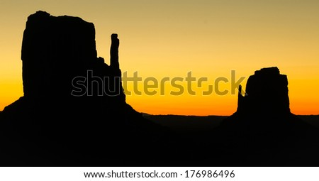 Beautiful sunrise on mitten at Monument Valley, Arizona