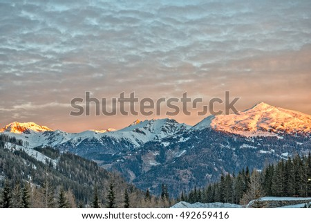Beautiful sunrise on ski resort in Austrian Alps