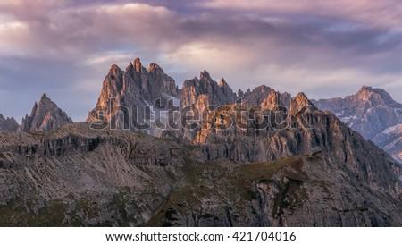 Beautiful sunrise on the Dolomites - stock photo