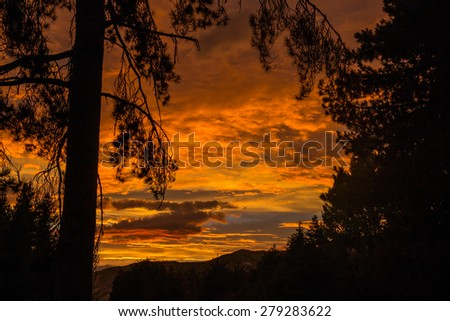 Beautiful sunrise on the South Island in New Zealand - stock photo