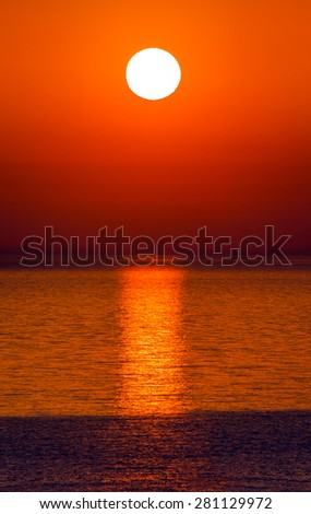 Beautiful sunrise over the horizon, - stock photo