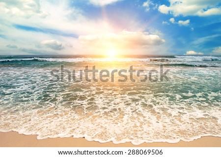 Beautiful sunrise over the sea - stock photo