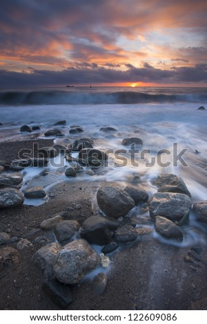 Beautiful sunrise over the sea. Ukraine, Black sea, Yalta. - stock photo