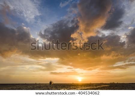 Beautiful sunset above the sea. sea sunset - stock photo