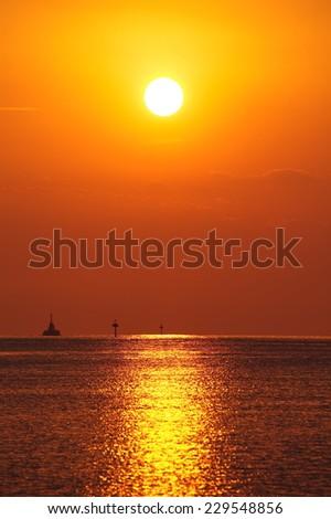Beautiful sunset and evening sky at sea   - stock photo