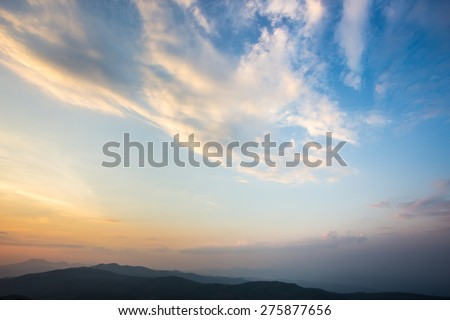 Beautiful sunset and evening sky with clouds for background. - stock photo