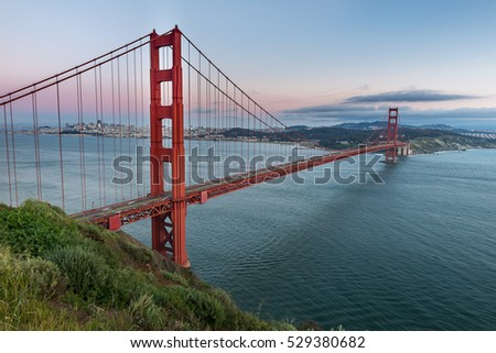 Beautiful sunset and Golden Gate Bridge