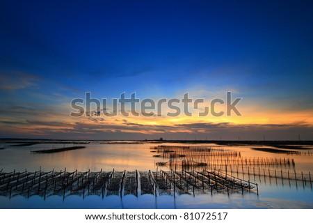 beautiful sunset and sea - stock photo