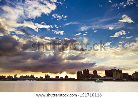 Beautiful sunset and the clouds with river