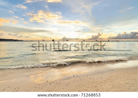 Beautiful sunset at Boracay, Philippines - stock photo