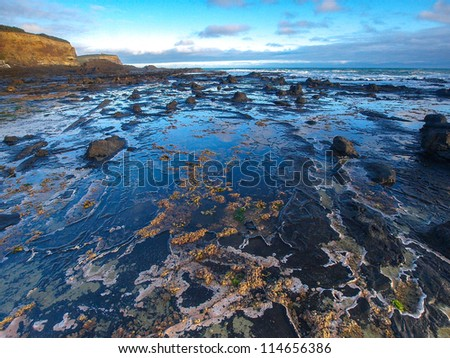 Beautiful sunset at Catlins Coast - stock photo