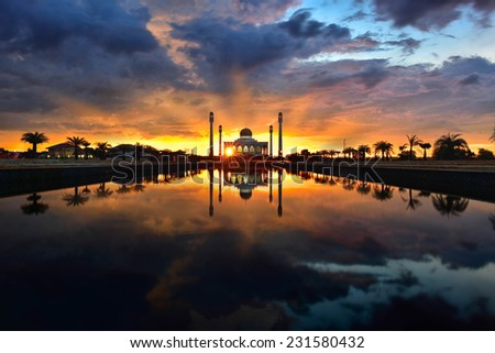 Beautiful Sunset at Central Mosque,Hatyai, Songkhla, Thailand - stock photo