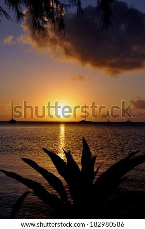 Beautiful sunset at french polynesia - stock photo