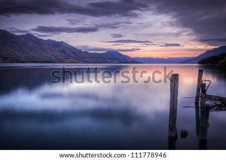 Beautiful sunset at Lake Wakatipu - stock photo