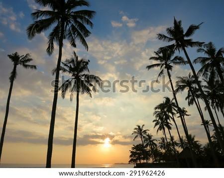 Beautiful sunset at Medewi beach, Bali, Indonesia - stock photo