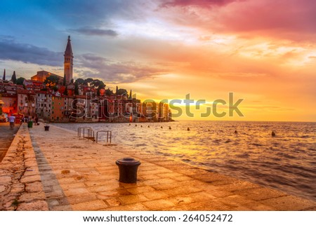 Beautiful sunset at Rovinj in Adriatic sea coast of Croatia, Europe. This image make HDR technique - stock photo