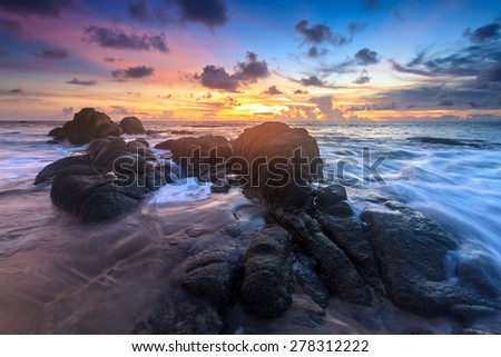 Beautiful sunset  at Sea in Thailand.  - stock photo