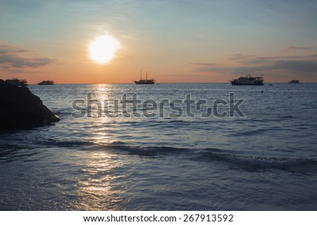Beautiful sunset at the Andaman Sea, Thailand - stock photo