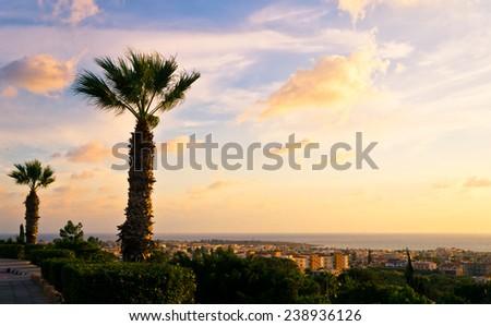 Beautiful sunset at the Paphos coastline, Cyprus. - stock photo