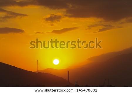 Beautiful sunset background - stock photo