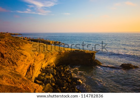 Beautiful Sunset Cliffs along southern California coast - stock photo