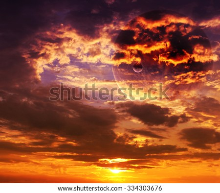 Beautiful sunset, cloud and planet. Elements of this image furnished by NASA