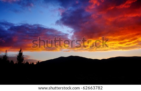 Beautiful sunset, clouds in many colors. HDR image - stock photo