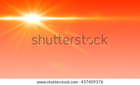 Beautiful sunset Digital Lens Flare In Black Background - stock photo