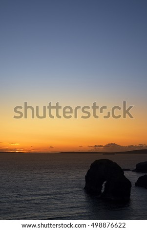 beautiful sunset going down over the virgin rock on the wild atlantic way