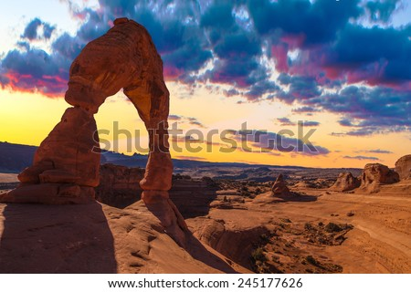 Beautiful Sunset Image taken at Arches National Park in Utah - stock photo