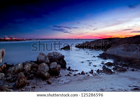 Beautiful sunset in a beach of south Europe