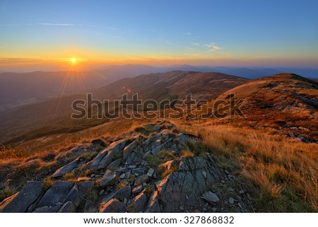 Beautiful sunset in Bieszczady mountains  - stock photo